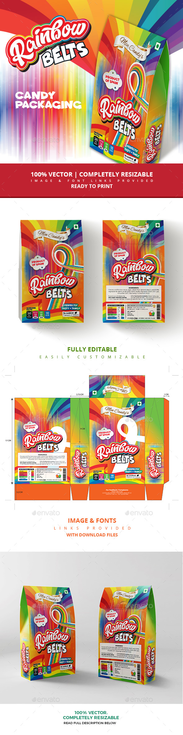 Mixed Fruit Sour Candy Belts Packaging - Packaging Print Templates