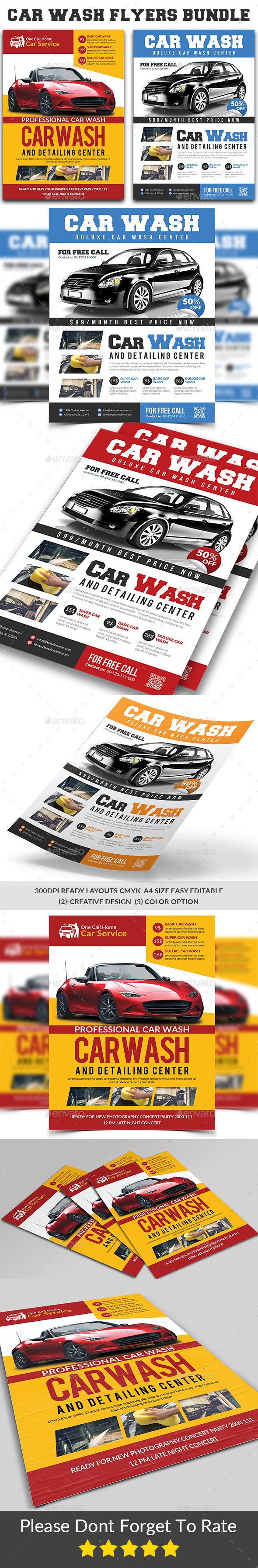 GraphicRiver Car Wash Flyers Bundle 20969405