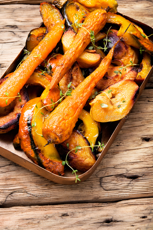 Baked pumpkin with carrots - Stock Photo - Images