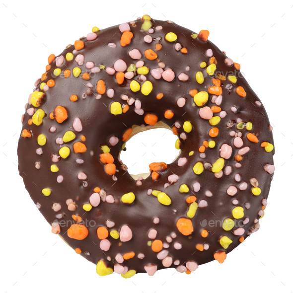 Chocolate donut isolated - Stock Photo - Images