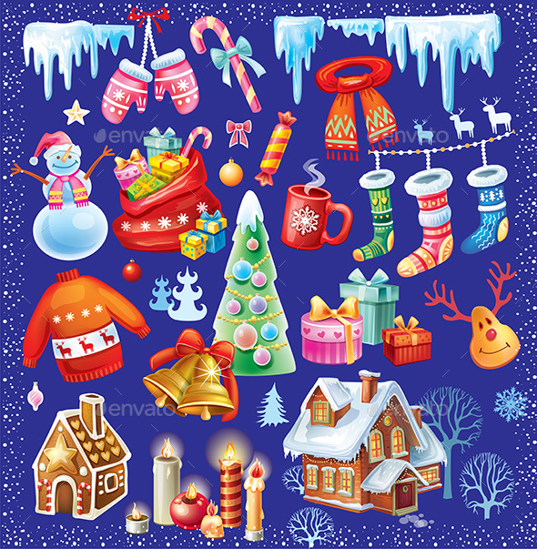 Set of Christmas Symbols - New Year Seasons/Holidays