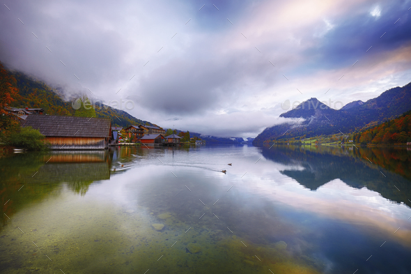 Misty morning on the lake Grundlsee Alps Austria Europe - Stock Photo - Images