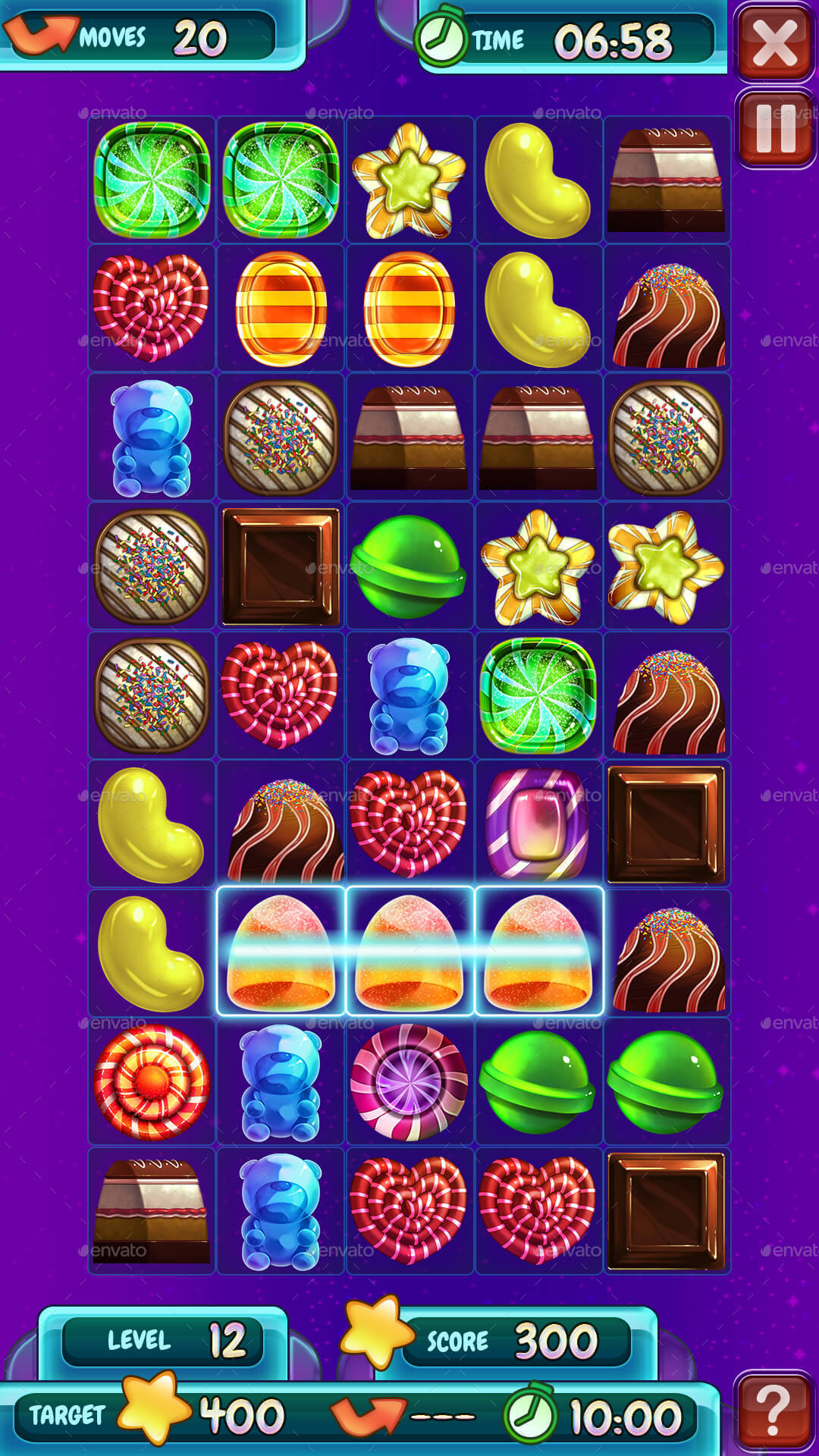 match 3 candy puzzle game assets with gui kit by space gecko