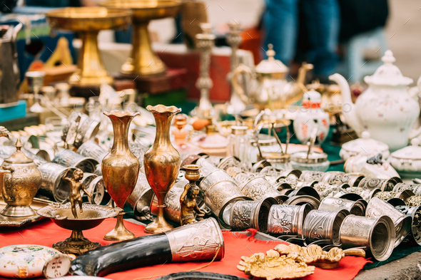 Tbilisi, Georgia. Shop Flea Market Of Antiques Old Retro Vintage - Stock Photo - Images