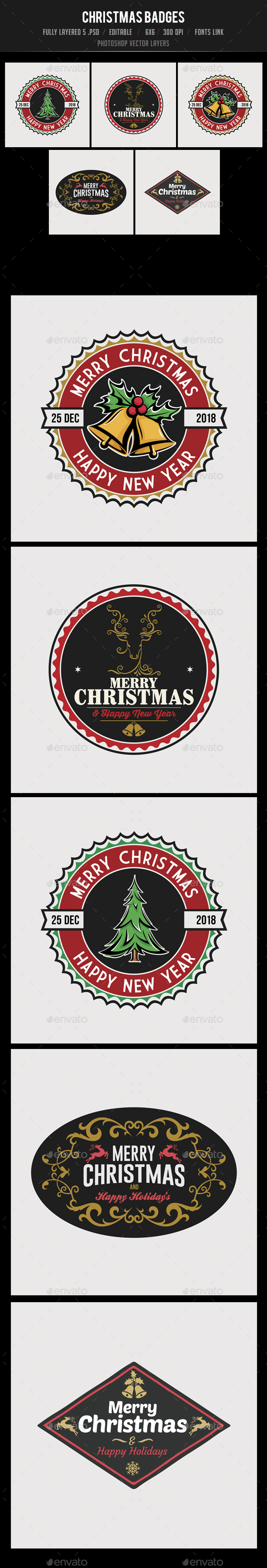 5 Christmas Badges - Badges & Stickers Web Elements