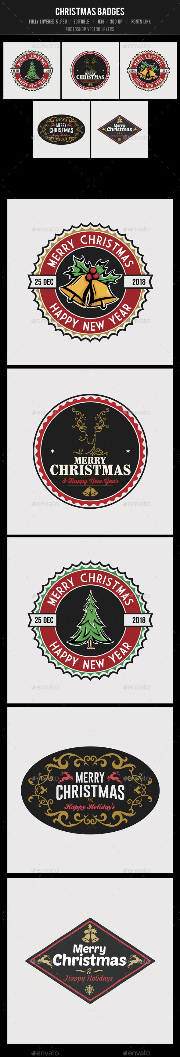 GraphicRiver 5 Christmas Badges 20971014