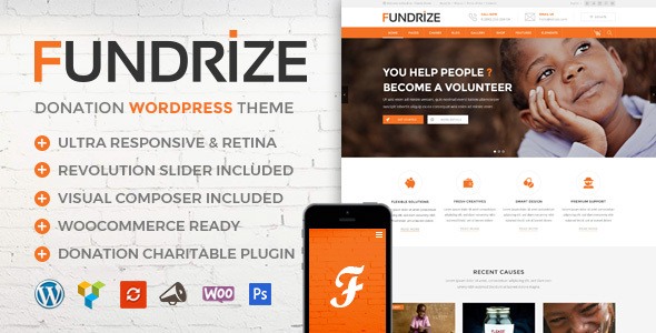 ThemeForest Fundrize Responsive Donation & Charity WordPress Theme 20971587