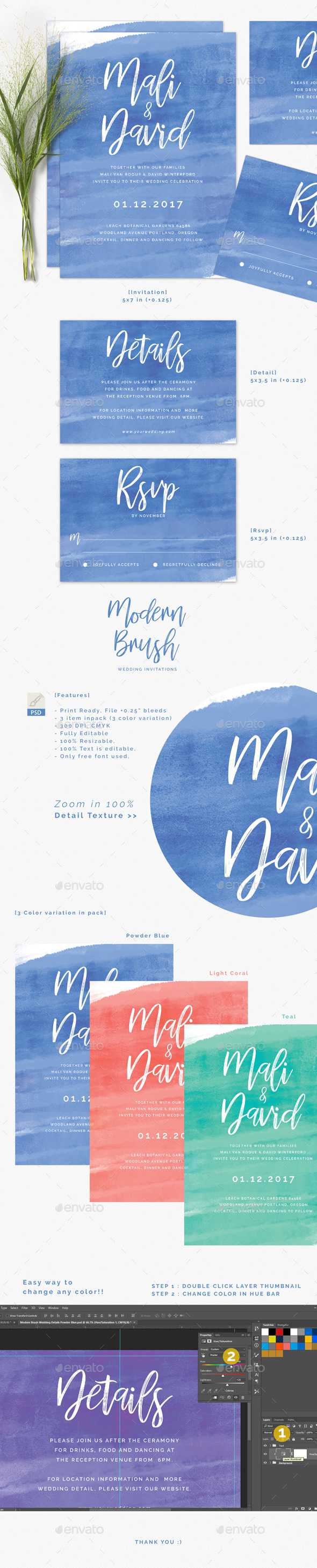 GraphicRiver Modern Brush Wedding Invitations 20971615