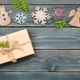 Christmas decoration and gift box on wooden background - PhotoDune Item for Sale