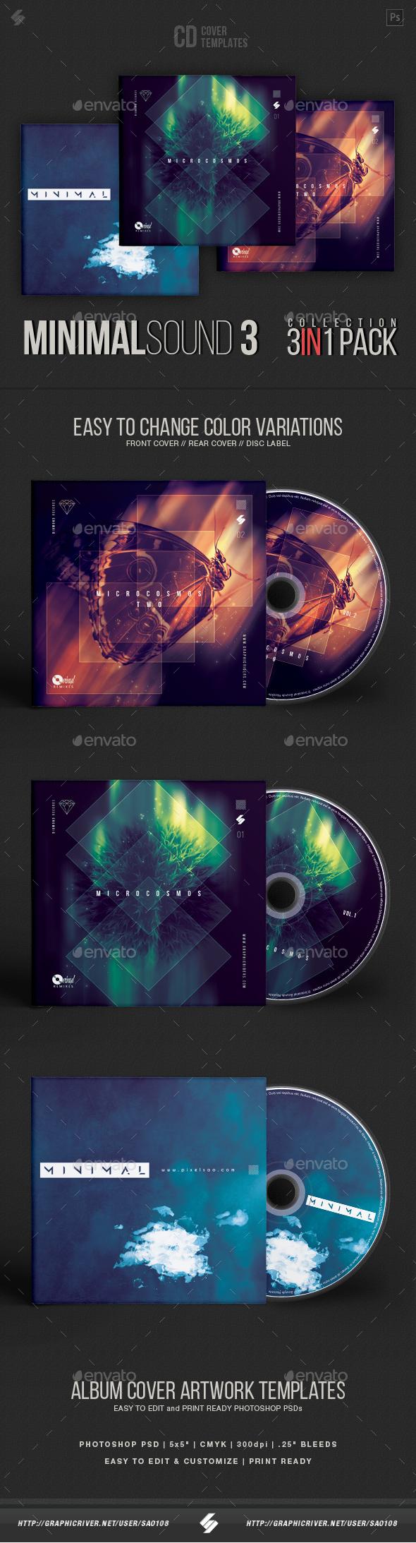 Progressive Minimal Sound - CD Cover Artwork Templates Bundle - CD & DVD Artwork Print Templates