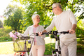 happy senior couple with bicycles at summer park - PhotoDune Item for Sale