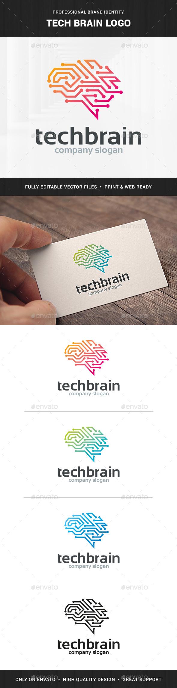 Tech Brain Logo Template - Symbols Logo Templates