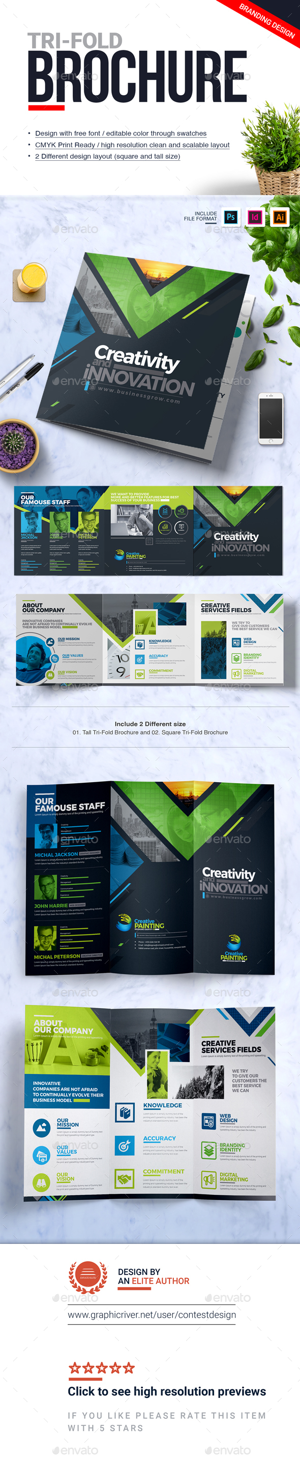 GraphicRiver Tri-Fold Brochure Square and Tall Brochure Design Template 20952805