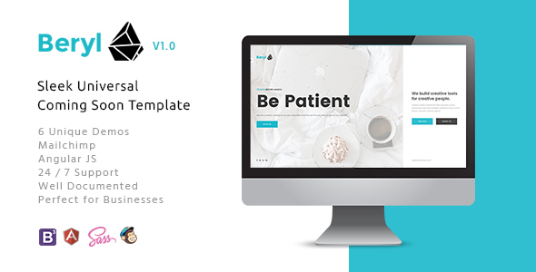 Beryl – Responsive HTML5 Coming Soon Template Free Templates