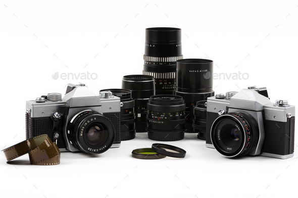 Old photo cameras with lenses  - Stock Photo - Images