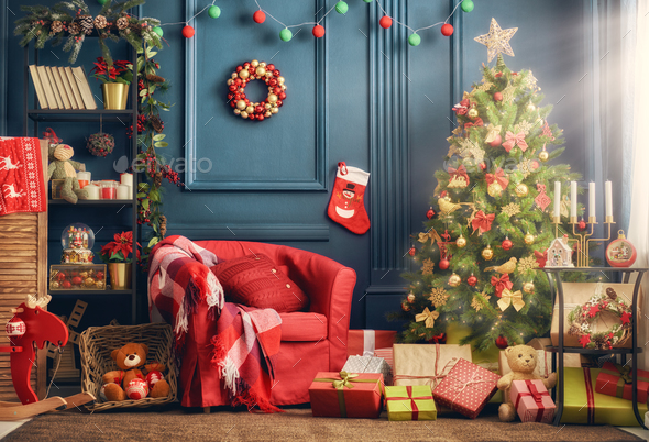 room decorated for Christmas - Stock Photo - Images