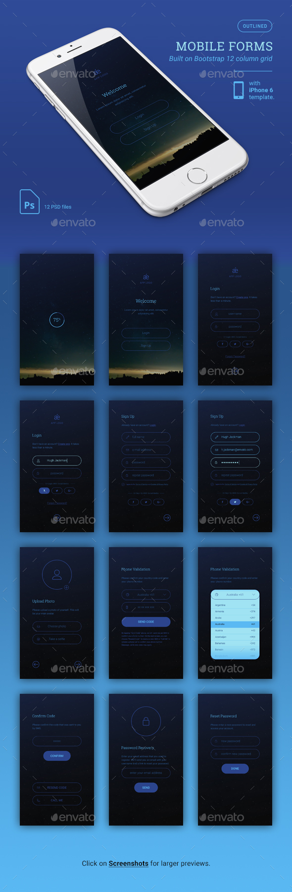 GraphicRiver Dark Mobile App Forms 20948336