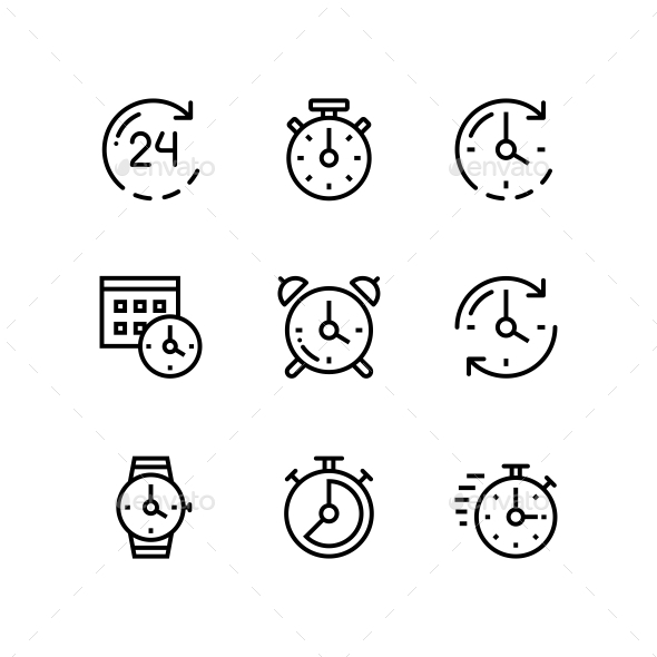 GraphicRiver Set of Time Clock Watch Timer Vector Outline Icons for Web and Mobile Design Pack 1 20973211