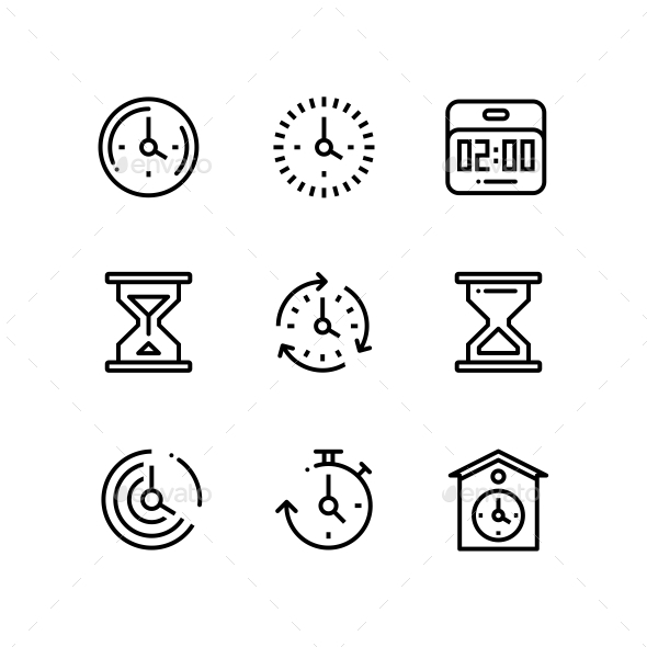 Set of Time, Clock, Watch, Timer Vector Outline Icons for Web and Mobile Design Pack 2 - Icons
