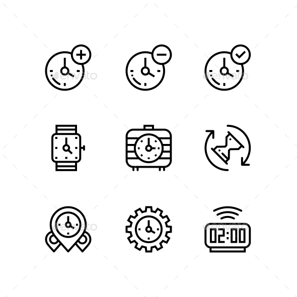 GraphicRiver Set of Time Clock Watch Timer Vector Outline Icons for Web and Mobile Design Pack 3 20973236