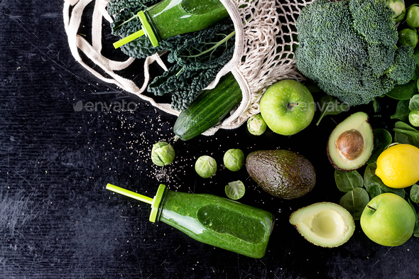 Green Smoothie and Ingredients - Stock Photo - Images