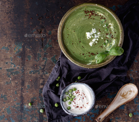 Pea soup with chili and yogurt - Stock Photo - Images