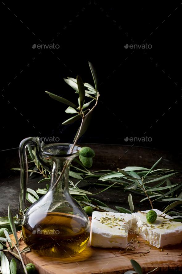 Greek Mezze Olives and Feta - Stock Photo - Images