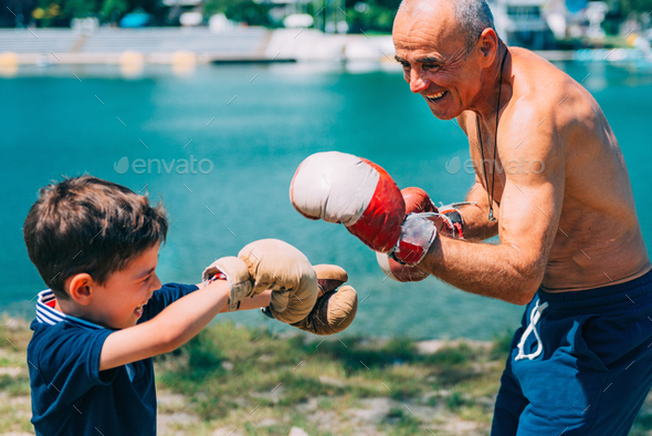 Boxing by the lake - Stock Photo - Images
