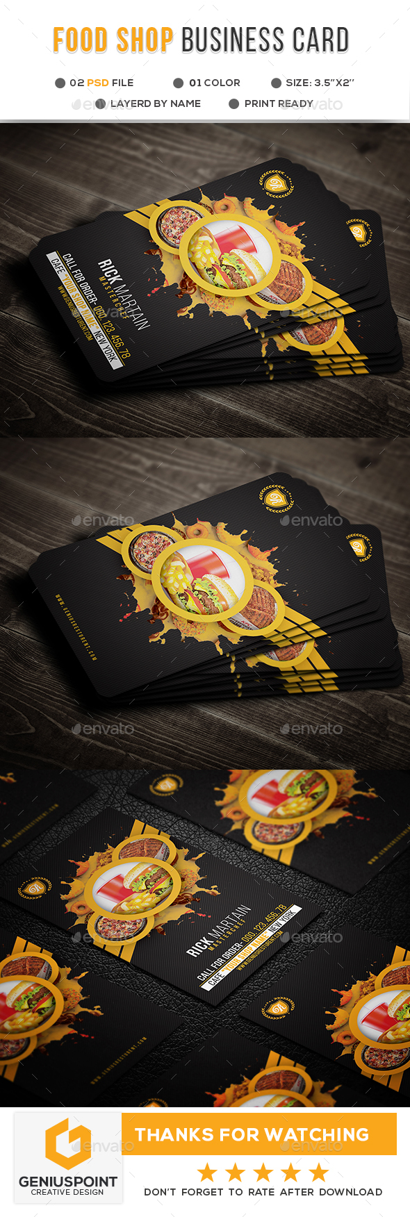 GraphicRiver Food Shop Business Card 20974336