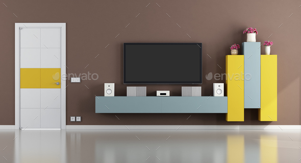 Colorful living room with television set - Stock Photo - Images