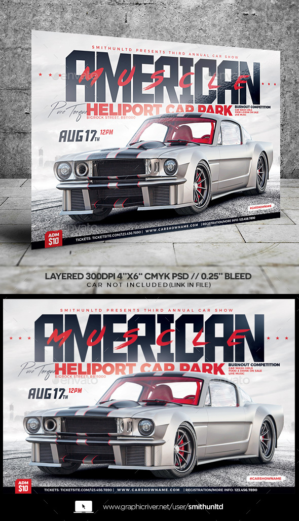 GraphicRiver Car Show American Muscle Flyer Horizontal 20974434