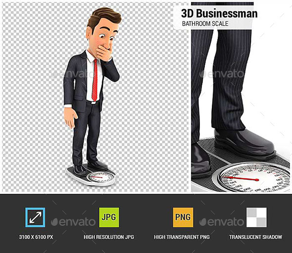 GraphicRiver 3D Businessman Weighing Himself on Bathroom Scale 20974452