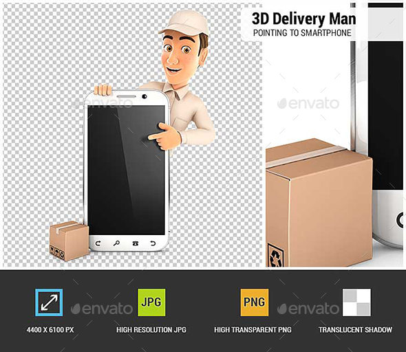GraphicRiver 3D Delivery Man Pointing to Blank Smartphone 20974458