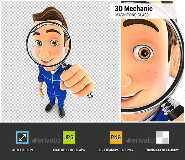 GraphicRiver 3D Mechanic Looking into a Magnifying Glass 20974470