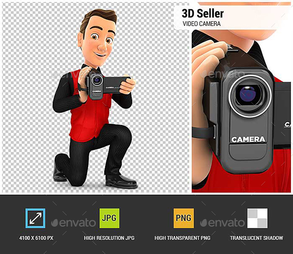 3D Seller Filming with Video Camera - Characters 3D Renders