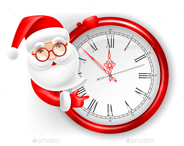 GraphicRiver Santa Claus and Circle Clock 20974675