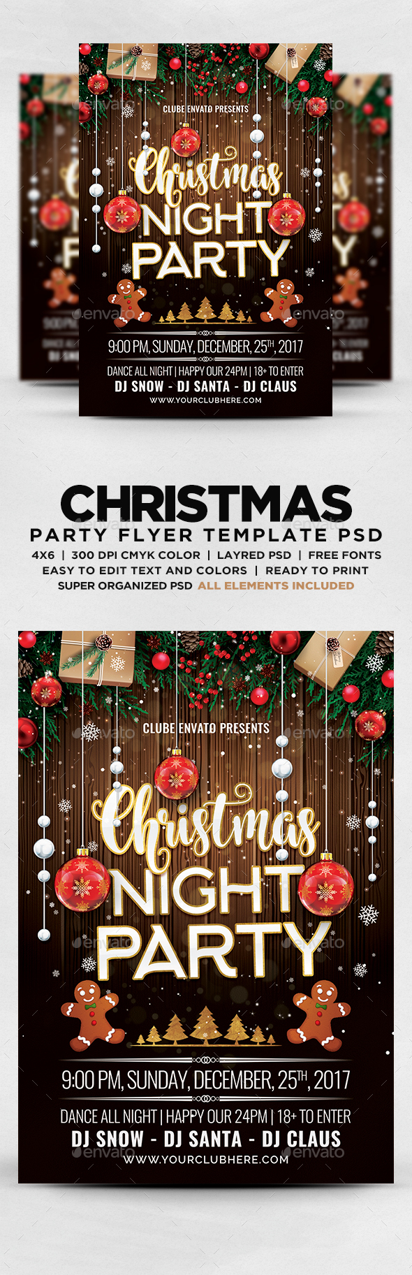 GraphicRiver Christmas Night Party Flyer 20974725