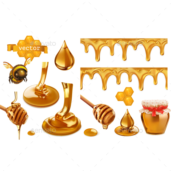Honey Vector Set - Food Objects