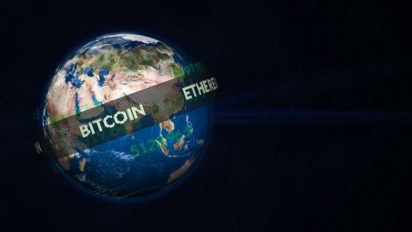 VideoHive Running Line with Popular Cryptocurrency Revolves Around a Planet Earth Globe 20975021