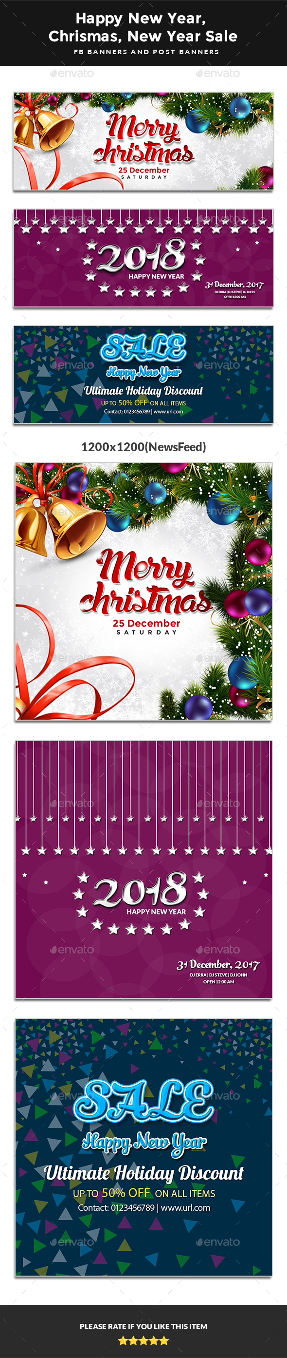 GraphicRiver 2018 Happy New Year Happy Christmas New Year Sale FB Covers & Post Banners 20975030