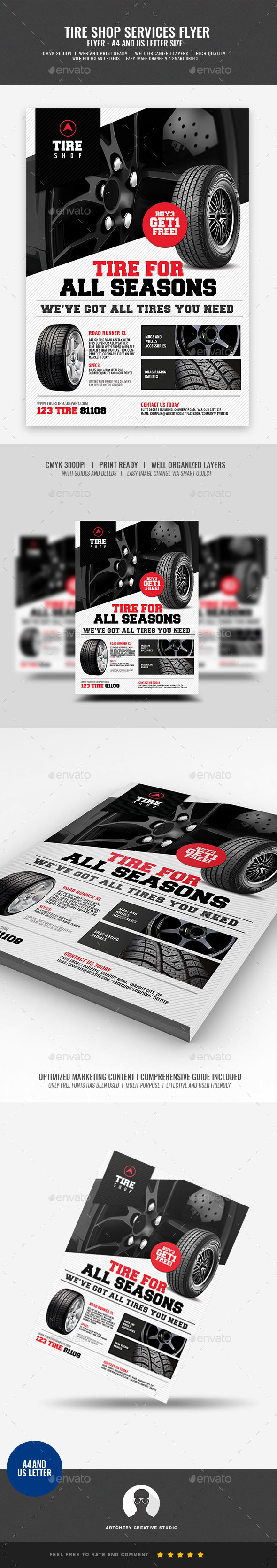 Tire Shop Promotional Flyer - Commerce Flyers