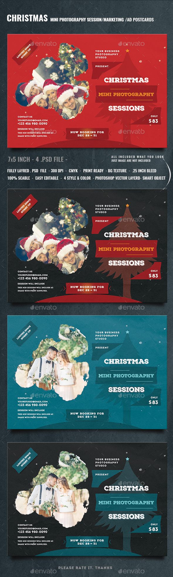 Christmas Mini Session Photography Template - Events Flyers