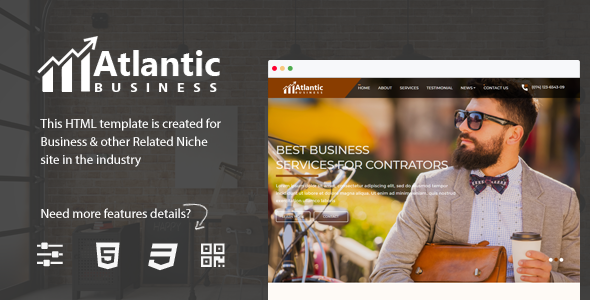 Atlantic - One Page Business HTML5 Bootstrap 4 Template