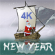 New Year Animated Card Santa Claus In Asia 4K - VideoHive Item for Sale