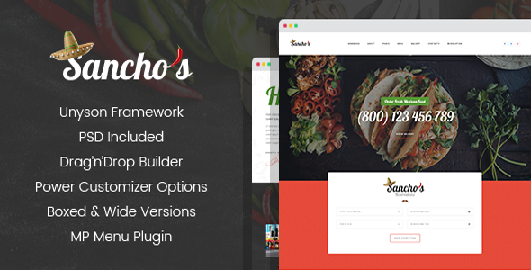 ThemeForest Sancho's Mexican Restaurant WordPress Theme 20687216
