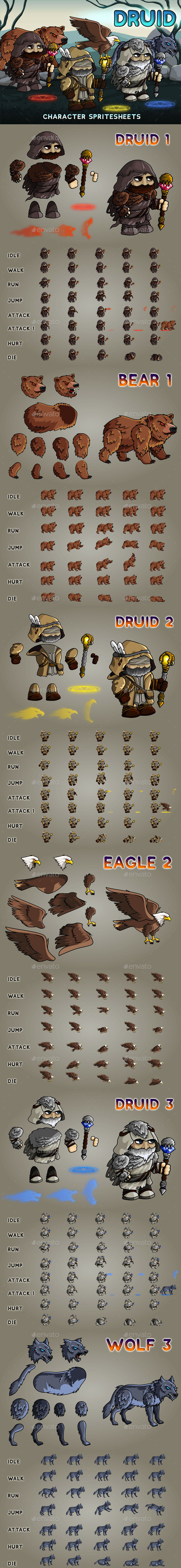 Druid 2D Game Character Sprite Sheet - Sprites Game Assets