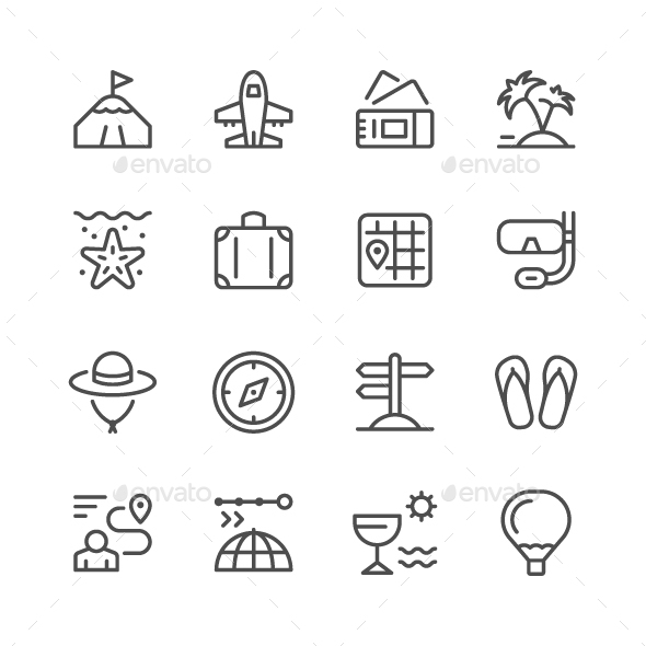 GraphicRiver Set Line Icons of Travel 20975558