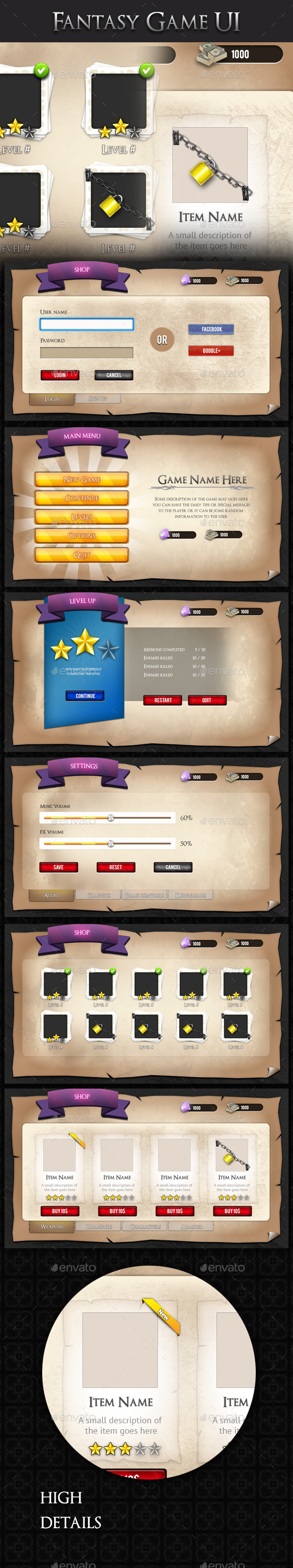 GraphicRiver Medieval Fantasy Game UI 20975657