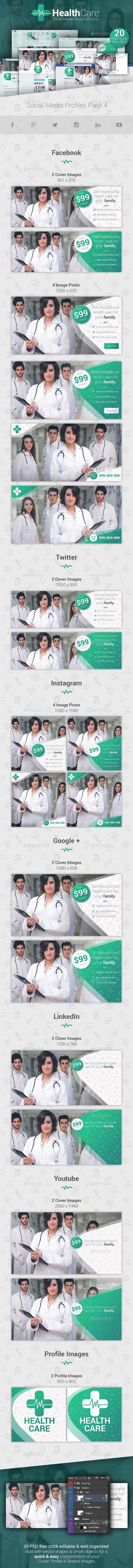 GraphicRiver HealthCare Social Media Cover Profile Pack 4 20975694