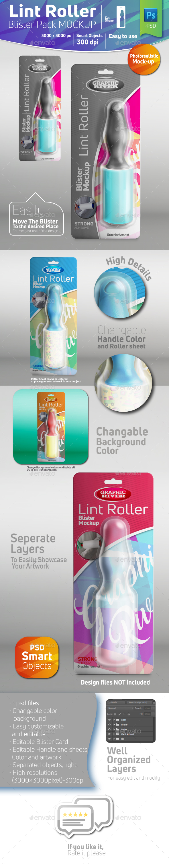 GraphicRiver Lint Roller Blister Pack Mockup With Roller Inside 20975782